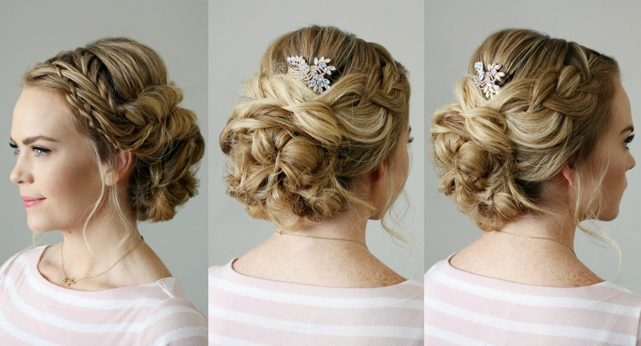 18 Creative And Unique Wedding Hairstyles For Long Hair: Fishtail Braid Embellished Updo