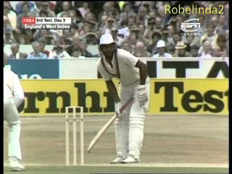 THE bravest cricketer, one arm batting - heroic cricket with a broken arm Malcolm Marshall