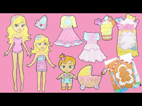 Paper Dolls Mother & Daughters Candy Dresses Papercrafts For Girls|Paper Doll Candy House Quiet Book