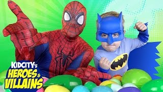 Heroes and Villains Superhero Surprise Egg Challenge in Real Life with Batman Toys vs Spiderman Toys