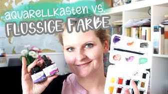 Ecoline Farbe vs. VanGogh Aquarellkasten und Brush Pen Sunset