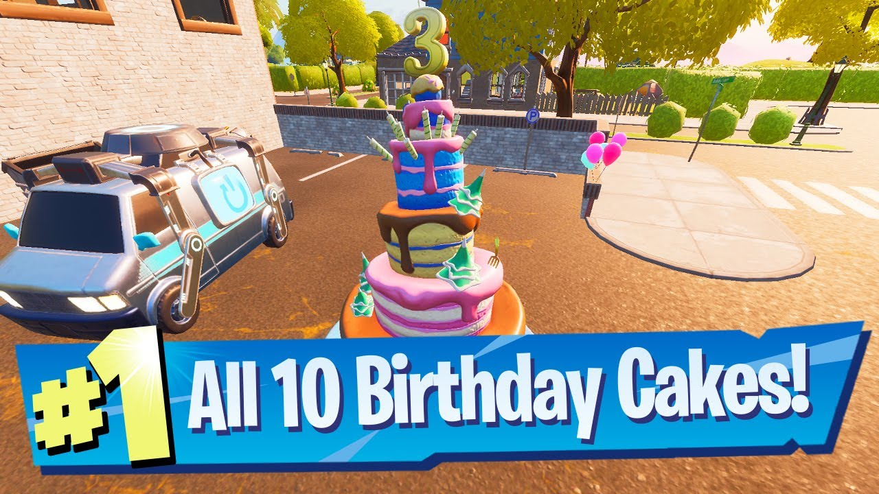 Dance In Front Of Different Birthday Cakes Location Fortnite Battle Royale Youtube