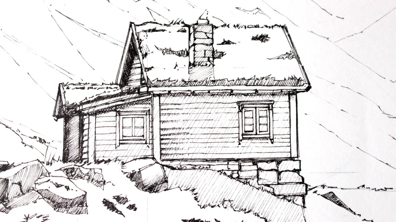 Drawing a CabinLandscape 12 Lineart YouTube