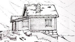 Drawing a Cabin/Landscape 1/2   Line-art