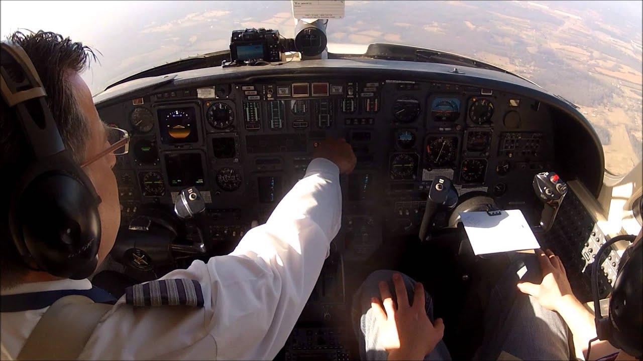 IFR flight in a Citation V (single pilot). Cockpit camera ...