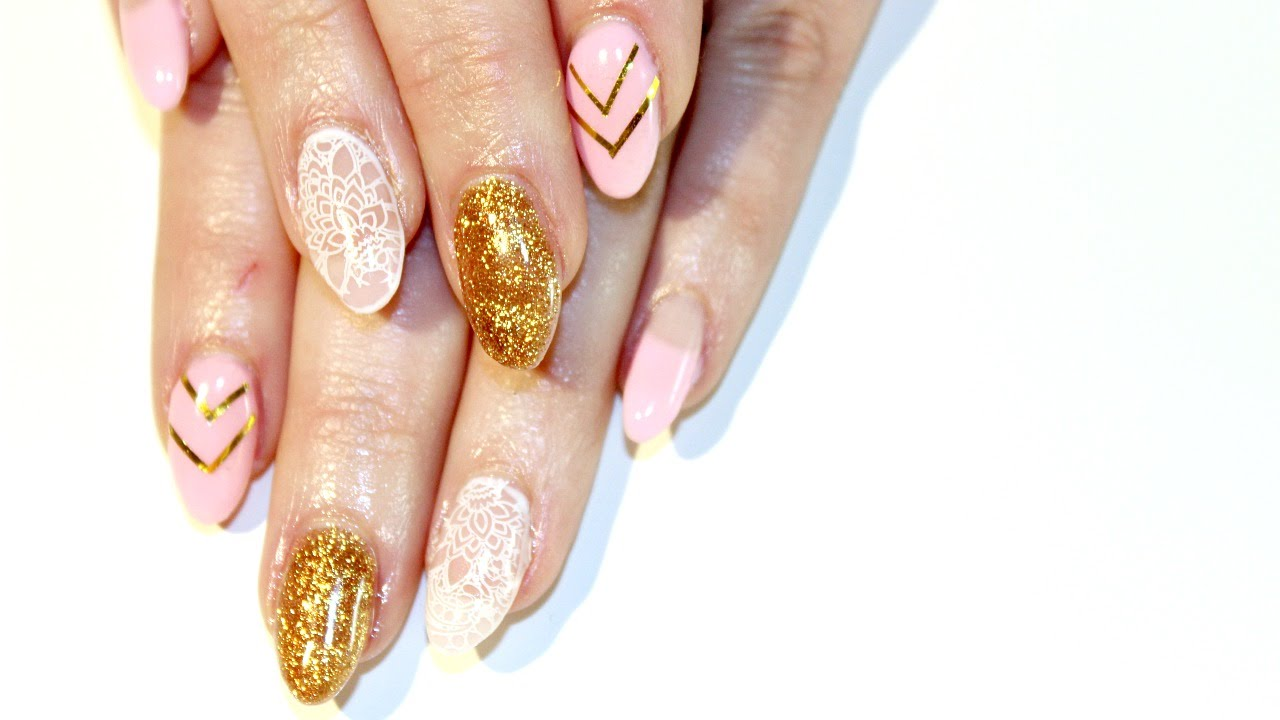 Pink Gold Gel Nails With White Lace Tutorial Youtube