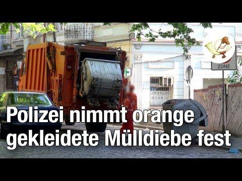 Polizei nimmt Bande orange gekleideter Mülldiebe fest [Postillon24]
