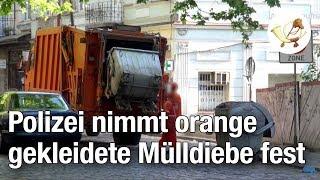 Polizei nimmt Bande orange gekleideter Mülldiebe fest