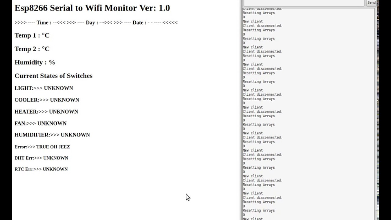 Esp8266 Serial to Html Webserver Monitor for Arduino Grow Box Controller