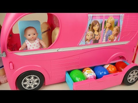 Pink bus surprise eggs and baby doll...