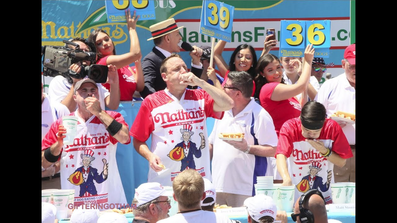 Annual Nathan's Hot Dog Eating Contest Reigning Champs Crowned Winners Again In Coney Island
