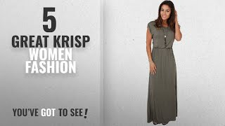 Krisp Women Fashion [2018 Best Sellers]: 3269-KHA-16.3:: KRISP Maxi Dress, Khaki, UK 16 / US 12
