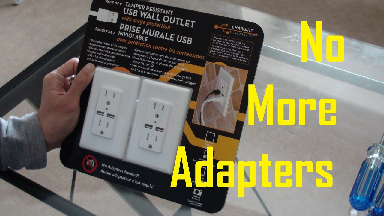 Charging essentials usb wall outlet with surge protection on replace electrical outlet with usb USB Receptacle Outlet Electrical Plugs Two-Prong Outlets for 3