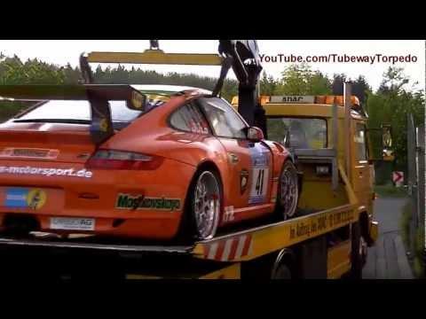 24 hours Nurburgring 2012 - Porsche GT3 Crash/Unfalle -HD
