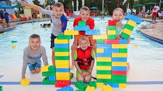 Giant Lego Brick Fort Challenge! Last to Leave the Pool!