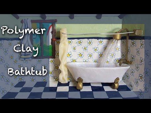Miniature tutorial - Polymer clay Bathroom roombox Part 2 of 4 - BATHTUB