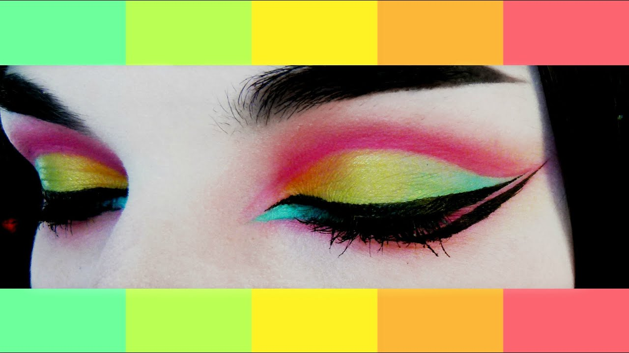Colorful Makeup Tutorial Yellow Green Blue And Pink