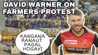DAVID WARNER ON Farmers protest #FarmersProtest #rihanna #Miakhalifa