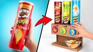 Pringles-Spender 3 Sorten | DIY Karton Projekt