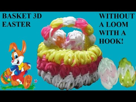How to make BASKET 3D EASTER without a loom, only with hook. without rainbow loom