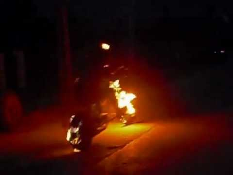 Real Life Ghost Rider - Riding a burning homemade moto ...