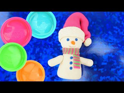 Лепим Снеговика из пластилина  Развивающее видео для детей