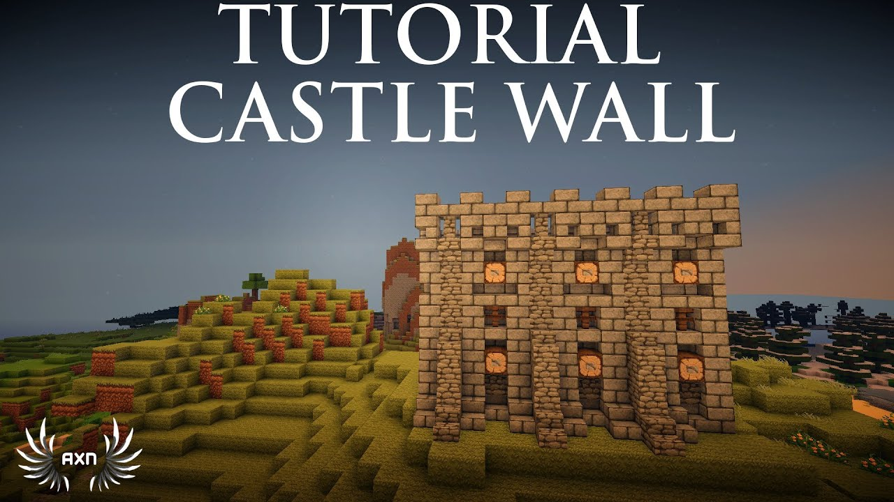 minecraft - how to build a medieval castle wall - youtube