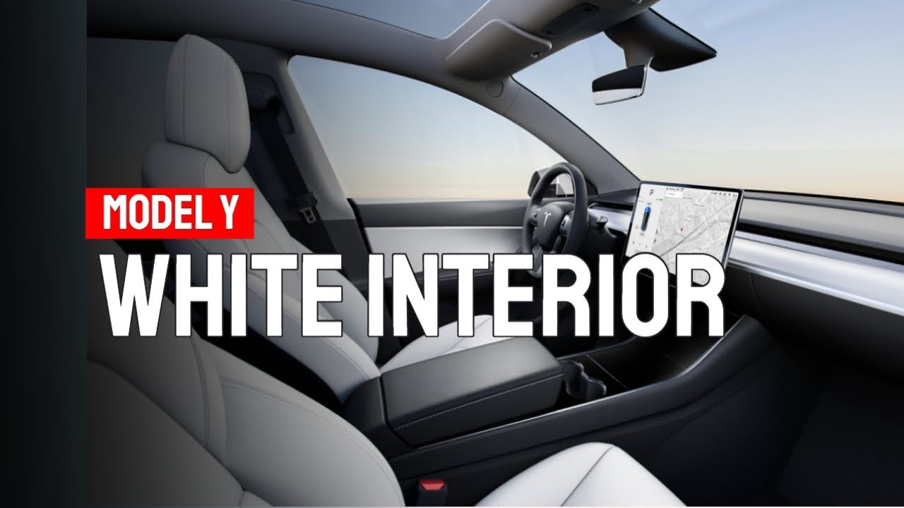 Tesla Model Y - WHITE INTERIOR (First Look!) - YouTube