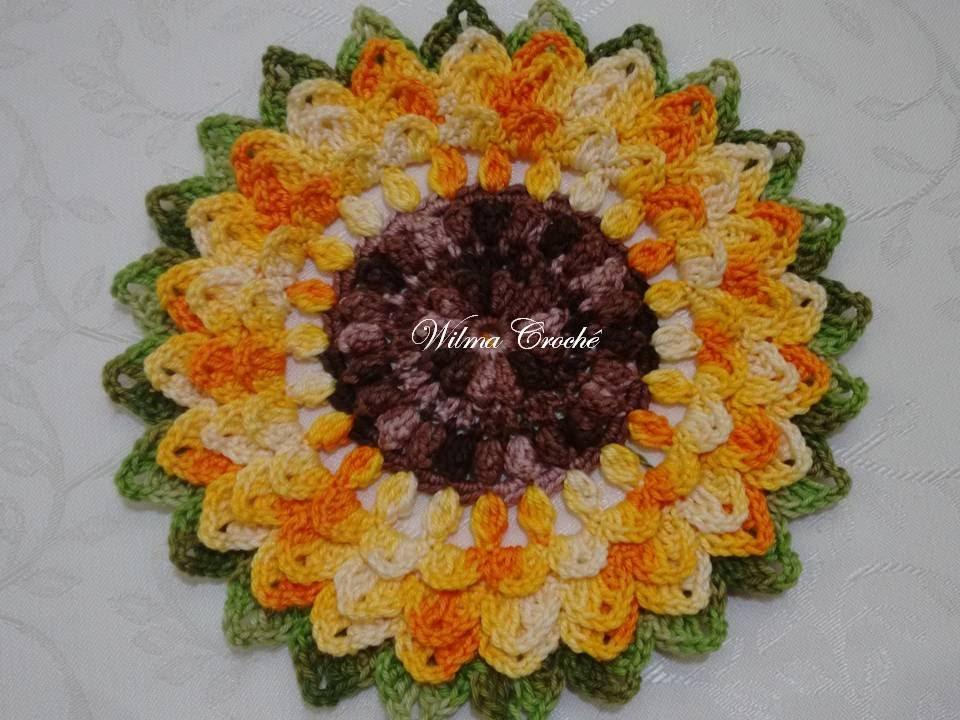 Adesivo De Borboleta Para Geladeira ~ Flor de Croch u00ea Girassol Passo a Passo YouTube