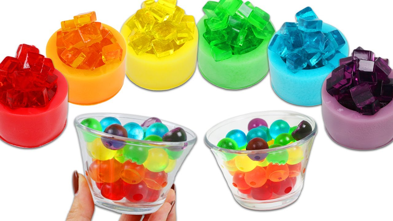 How to Make Satisfying Rainbow Gummy Cups with Cubes & Spheres | Fun & Easy DIY Jello Desserts!