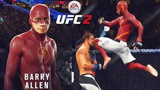 THE FLASH In The UFC! Flying Knee Off Of The Cage! EA Sports UFC 2 Online Gameplay