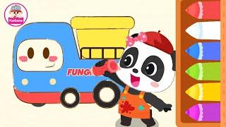 Màu Sắc Cho Bé - Bé Tập Tô Màu Ô Tô cùng Gấu Trúc Kiki - Colors for Kids