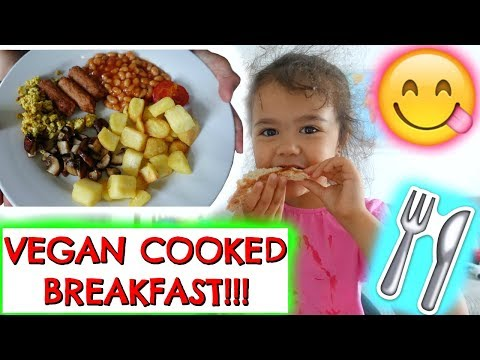 VEGAN COOKED FULL ENGLISH BREAKFAST - VEGAN KIDS MUKBANG!