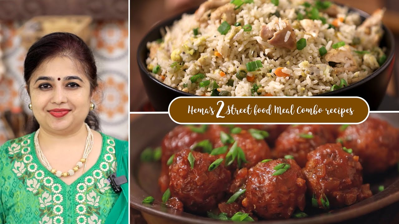 Hema's 2 Street food Meal Combo recipes | Chicken Fried Rice | Cabbage Manchurian