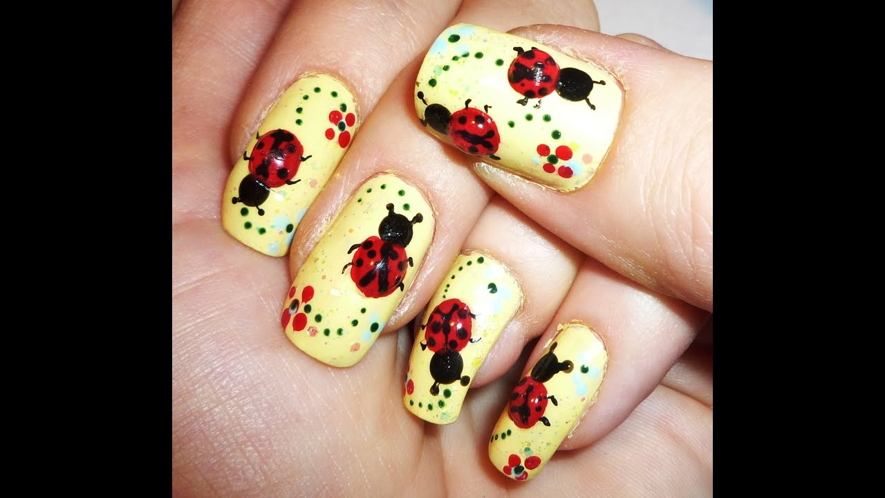 3d gel ladybugs nail art design
