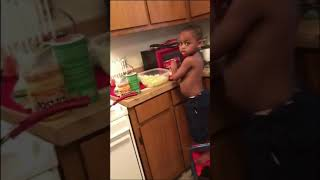Lil James TRIES to cook for his mom 😂
