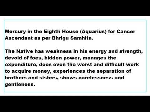 mercury in 8th house for Cancer Ascendant as per Bhrigu