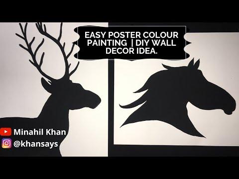 Easy Poster colour painting idea tutorial for beginners | DIY wall decor idea🐴