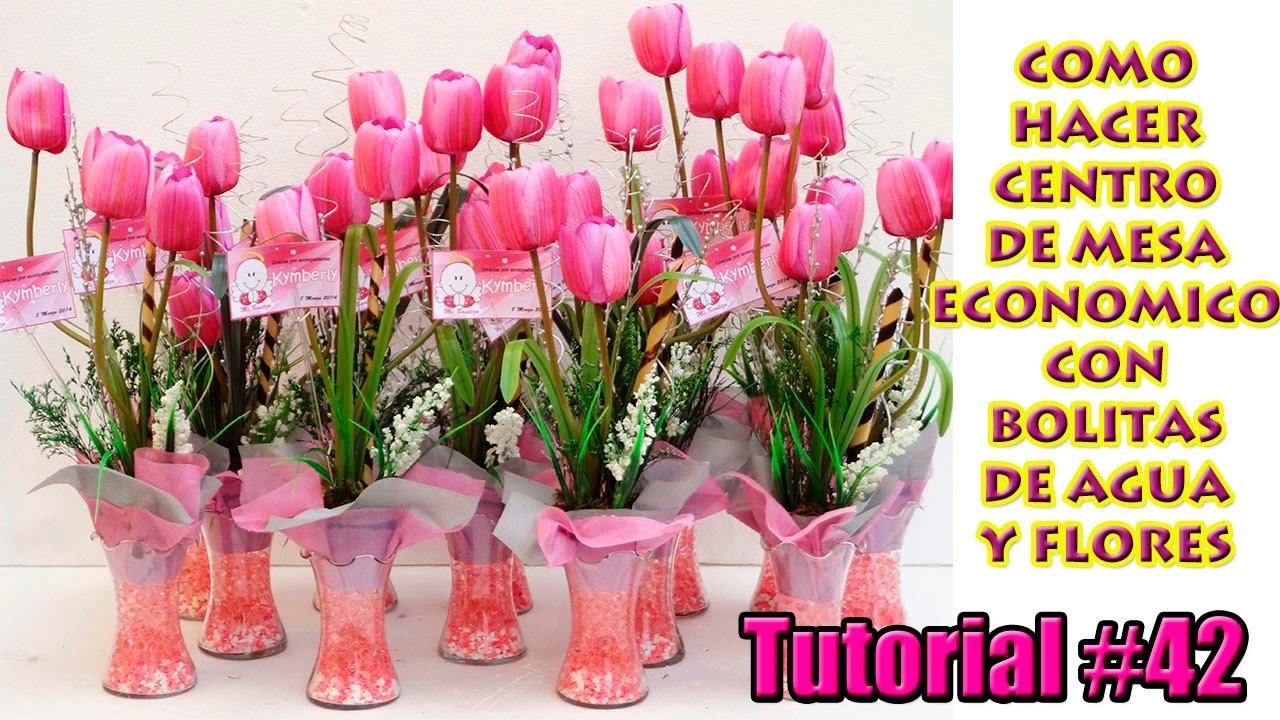 como hacer centro de mesa econmico arreglo con bolitas de agua y flores para todo tipo de evento