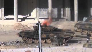 Syria  T72 tank gettin hit antitank rocket rpg29 FSA vs Al Assad