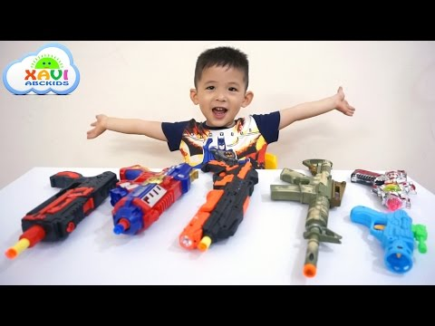 Thumbnail: Learn colors with colored toy guns for kids, children - Learning Colours for toddlers & babies