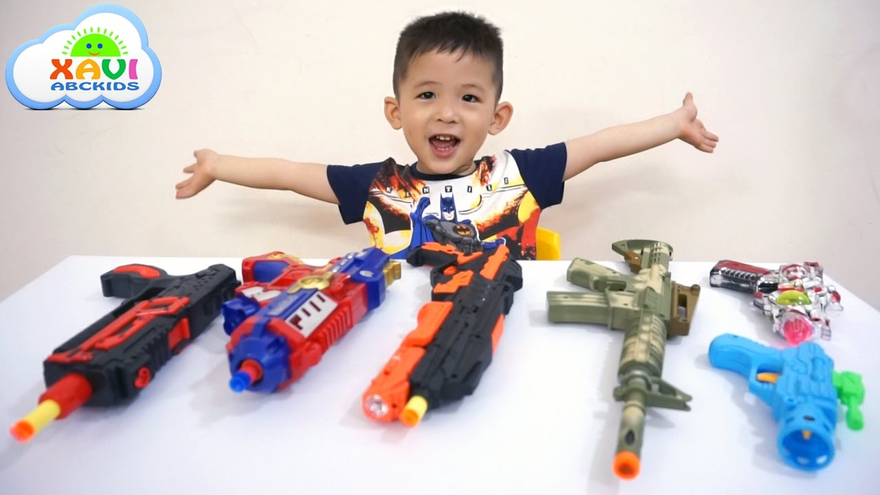 Learn Colors With Colored Toy Guns For Kids Children Learning