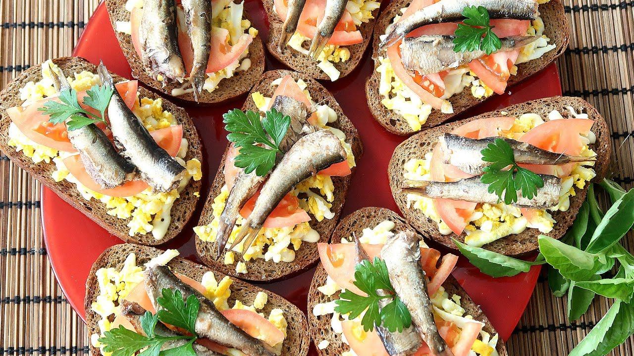 Гренки со шпротами, яйцом и помидорами Простая и вкусная закуска