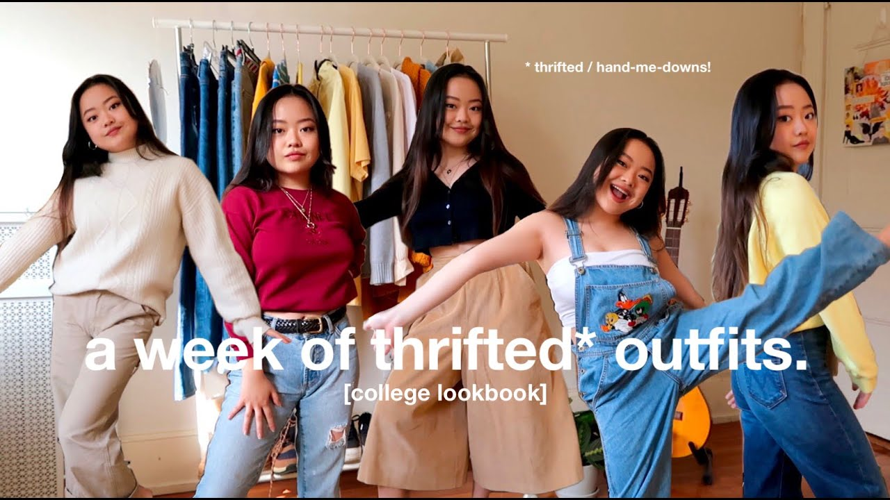 a week of thrifted outfits 🌱 college lookbook!🌞