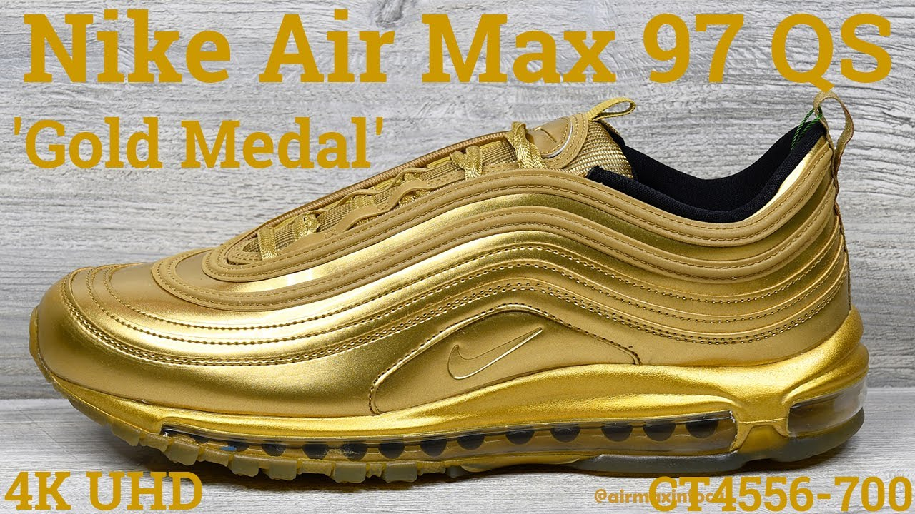 4k Nike Air Max 97 Qs Gold Medal Ct4556 700 2020 An Unboxing And Detailed Look Gold Olympics Youtube
