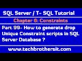 How to generate drop Unique Constraint scripts in SQL Server Database - SQL Server Tutorial Part 99