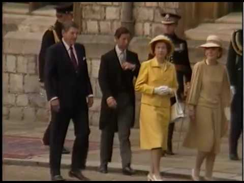 President Reagan at the Arrival Ceremony at Windsor castle, United Kingdom on June 7, 1982
