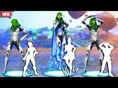 Gamora Fortnite (by Marvel's Guardians of the Galaxy) doing all Built-In Emotes!..
