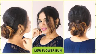Easy Low Flower Bun Hairstyle For Indian Festival Hairstyle For Medium To Long Hair