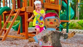 Pretend Play Mommy with Baby Dolls on the Playground - Stacy Jumps in Muddy Puddles
